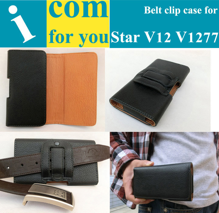 HK POST free shipping Gift+Holster Belt Clip Leather case for Star V12 V1277 For Mountain climbing Camping Outdoor activities(China (Mainland))