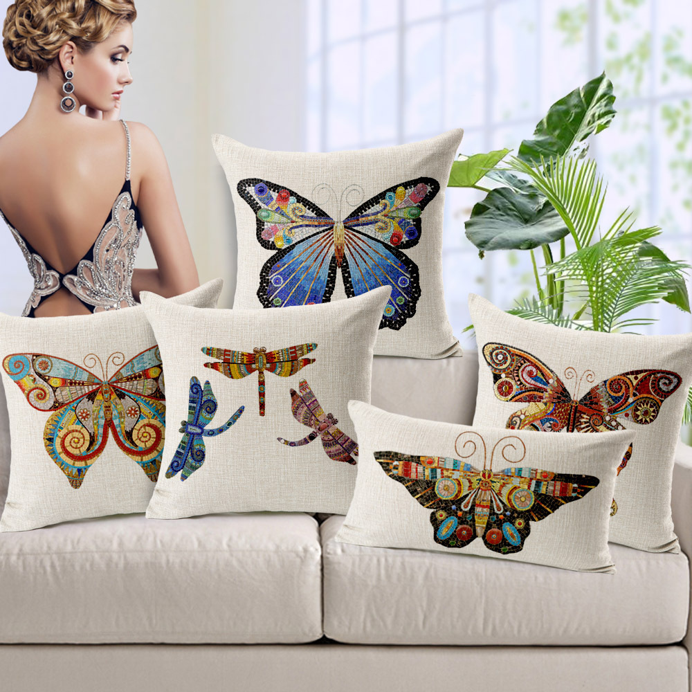 "2015 IKEA Cojines Butterflies Dragonflies Coloured Thicken Linen Pillow/cushion Cover For Sofa Chair/Car Covers 45*45CM 18""(China (Mainland))"