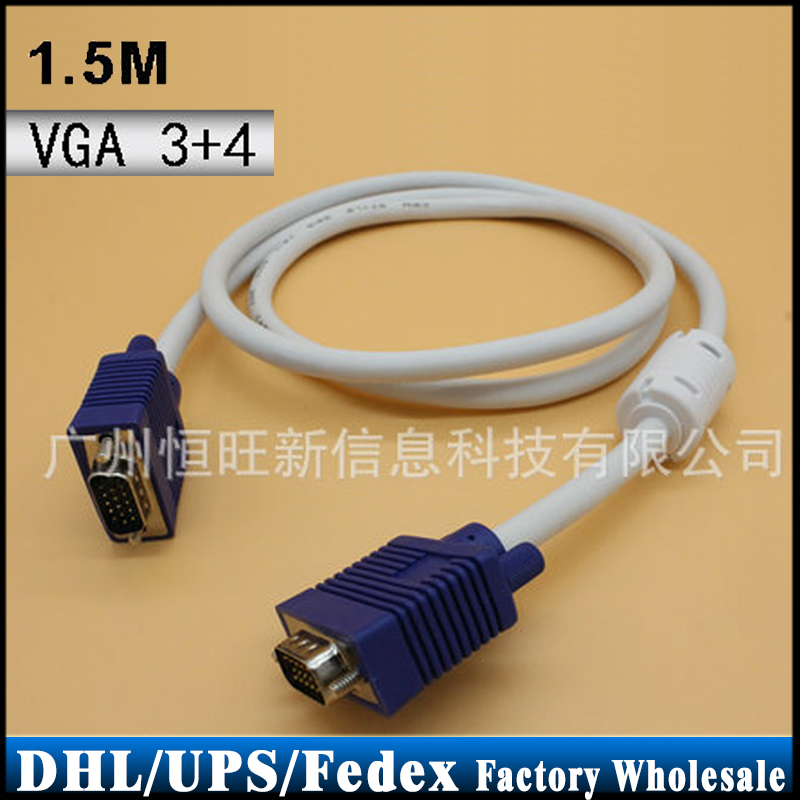 DHL/Fedex/UPS 100pcs/lot VGA 3+4 Monitor Male To Male Extension Video Cable Connects(China (Mainland))