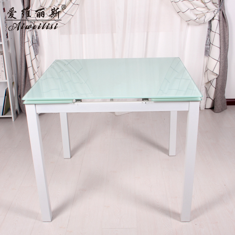 Aiweilisi simple square table glass dining table dinette combination of small size retractable table dining table(China (Mainland))