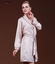 Spring and Autumn New Luxury Women's Imitated Silk Bathrobe Robes with Long Sleeve(China (Mainland))