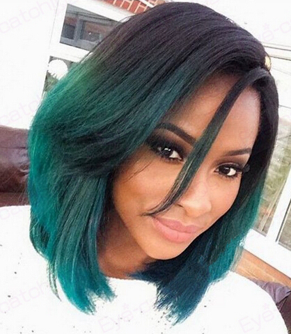 Fashion Ombre Dark Green Straight Short Bob Synthetic Lace Front Wig Natural Black/Green Heat Resistant Hair Wigs For Women New(China (Mainland))