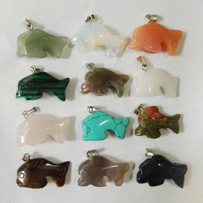 Wholesale Dolphin natural stone Fish pendants stone Fashion Jewelry charms Necklace Pendant for men woman12pcs/lot free shipping(China (Mainland))