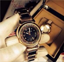 2016 Ladies Watch Vintage ceramic diamond watches luxury brand women dress watches quartz casual full steel men sports watches(China (Mainland))
