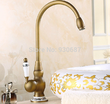 Buy Swivel Spout Antique Brass Kitchen Faucet Single Ceramic Handles Mixer Tap for $66.95 in AliExpress store