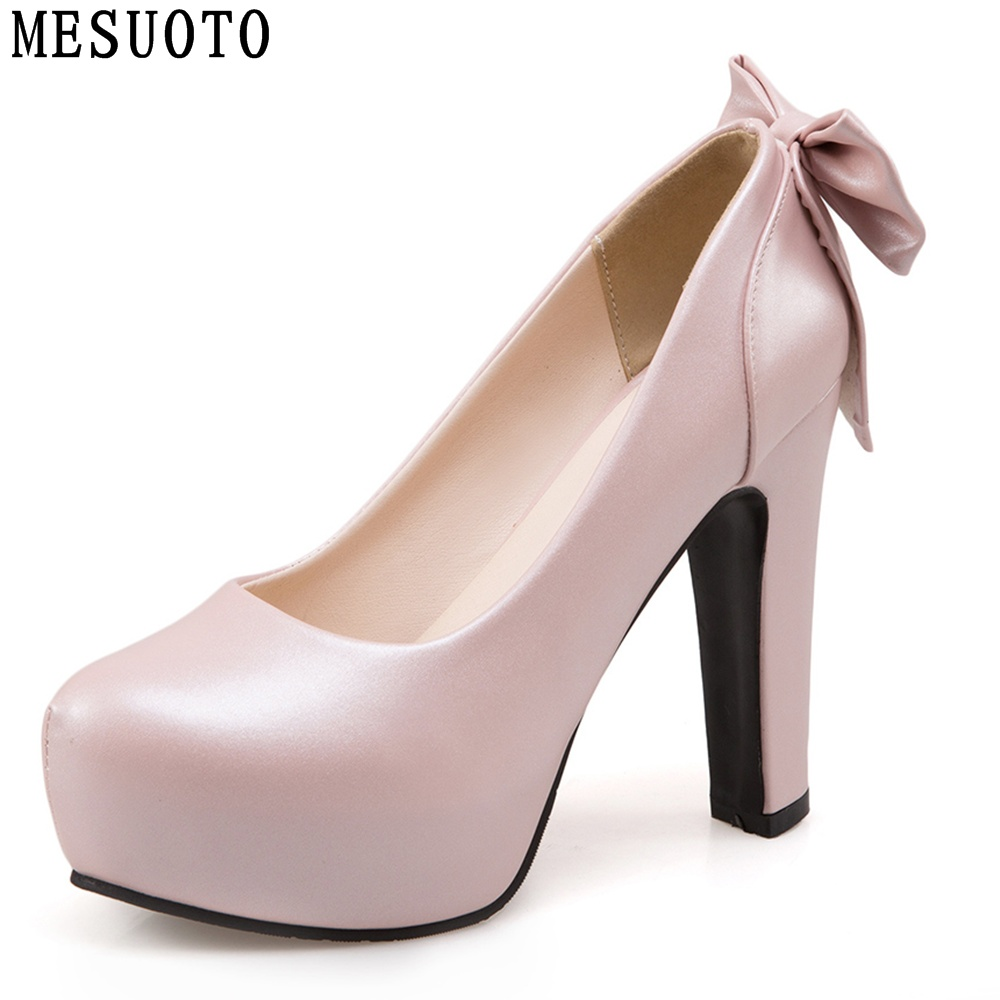 MESUOTO Spring Air PU Leather Sweet Bowtie Super High Heels Womens Shoes Platform Slip On Party Ladies Pumps(China (Mainland))