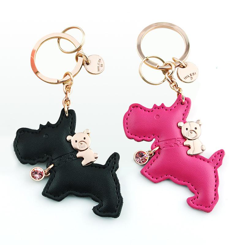 Milesi-brand leather keychain puppy, original designed dog keychain, car bag pendant gift for lover, couple keyring K0163(China (Mainland))