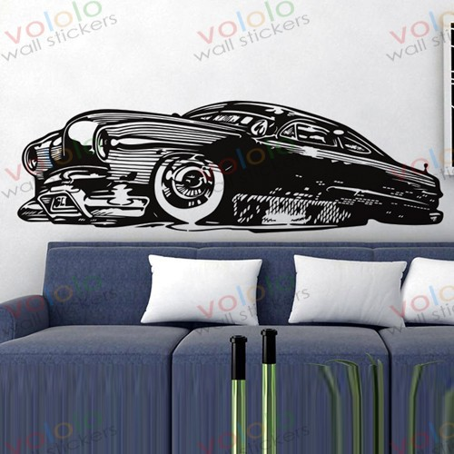 Free shipping Wall Stickers Wholesale and retail Wall decor PVC material decals wallpaper classic car  C-121(China (Mainland))