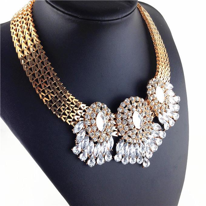 2016 новый роскошный большой хрустальный преувеличены ожерелья и подвески широкий позолоченный имитация ювелирных камней для женщин Whoseales
