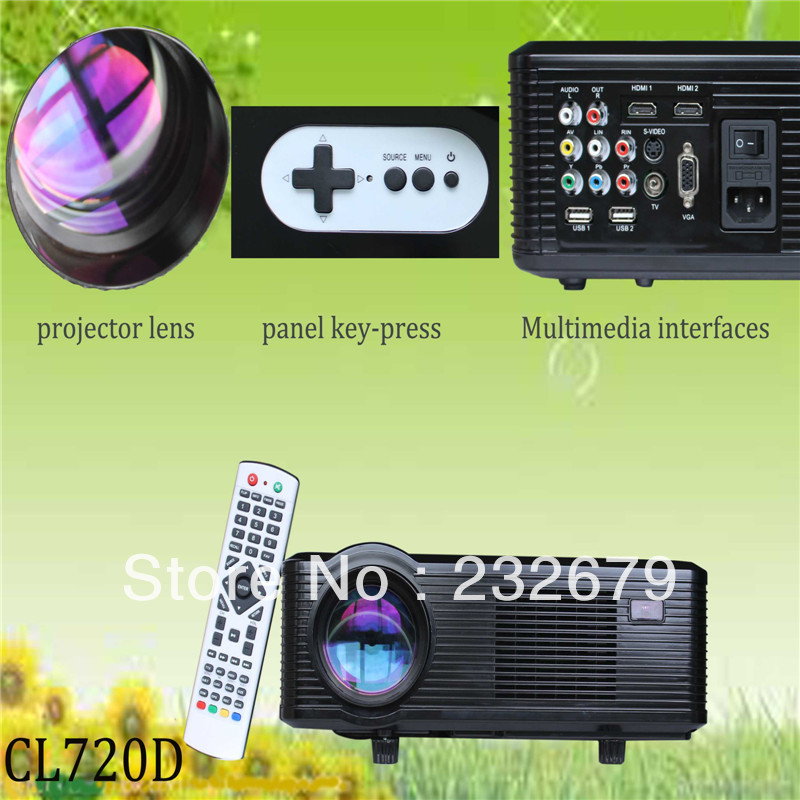 2014NEW!!! wholesale short throw home theater projector portable with cable TV/HDMI/USB/AV for promotion(China (Mainland))