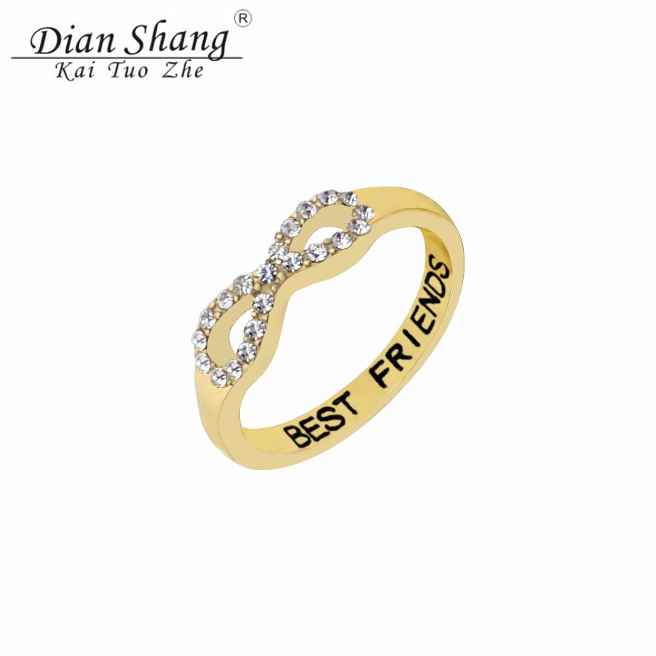DIANSHANGKAITUOZHE 1Fashion CZ Infinity Knuckle Rings Friendship Gift Rhinestone Ring Fine Jewelry Silver Best Friends - Show store