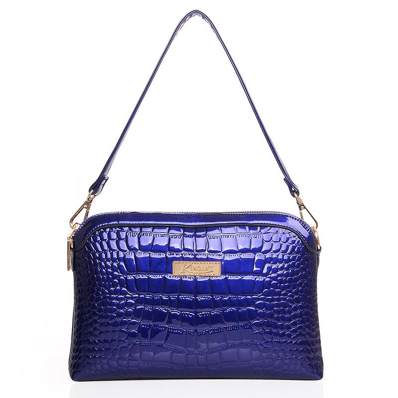New 2016 Luxury Women Handbag Small Bags Crocodile Grain Elegant Patent Leather High Fashion Handbags Shoulder Bag(China (Mainland))