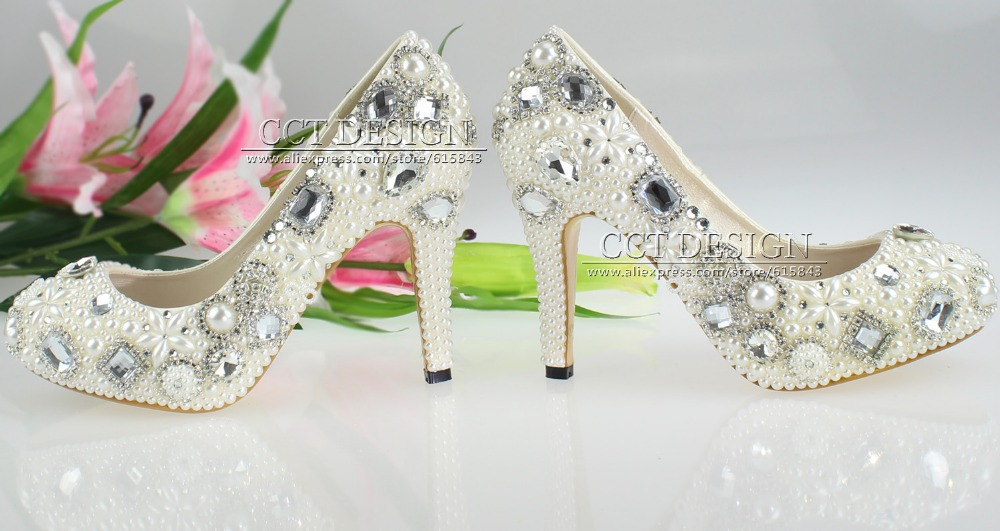 free shipping 2013 summer silver high heels with rhinestones platform pearls and crystal wedding shoes<br><br>Aliexpress