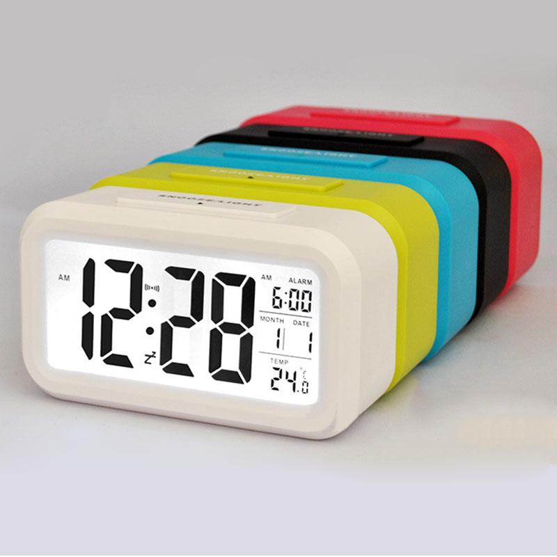 New 1pc LED Alarm Clock Despertador Temperature Sounds Control LED Display Electronic Desktop Digital Table Clocks Free Shipping(China (Mainland))