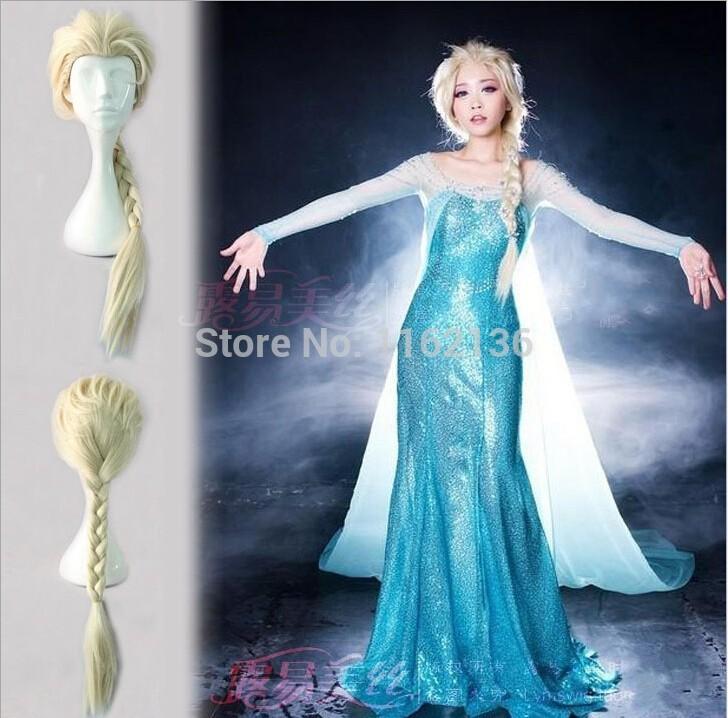Гаджет  2014 Frozen Snow Queen Elsa Weaving Braid Cosplay Wig Frozen most popular cartoon girl Elsa Hair Wig Free Shipping None Волосы и аксессуары