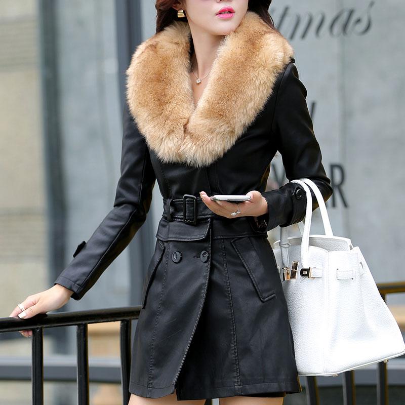 2015 Designer Short Mid long women leather coats PU leather jacket High quality fur collar winter