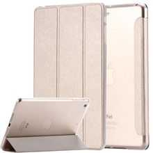 For ipad mini ipad5 6 Air 2 Flip Luxury Transparent Clear Silk Leather Case For ipad Air air2 Mini 1 2 3 4 Stand Full Cover Bags(China (Mainland))