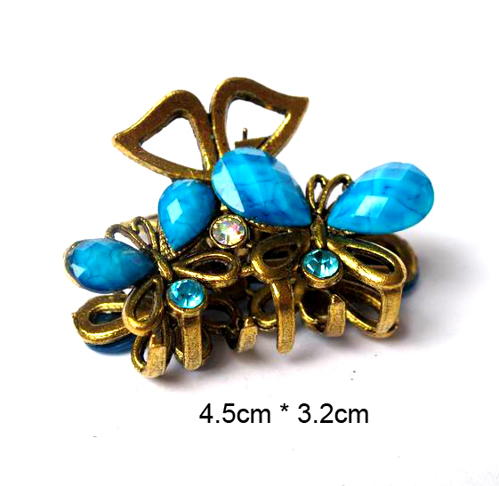 CCF505 Hot Selling Hair Accessories Vintage Metal Resin Butterfly Hair Claw Clip(China (Mainland))