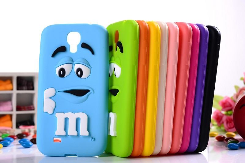 10 colors MM Milk Chocolate Cartoon Beans Lovely Silicone Silicon gel skin Cell Phone Case Cover for Samsung Galaxy S4 i9500(China (Mainland))