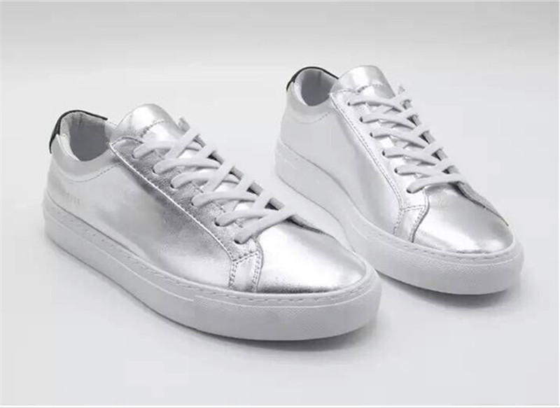 Фотография Brand Common Projects Women Men Shoes Spring Autumn Classic Silver Genuine Leather Sheepskin Casual Shoes Argento Femme Mujeres