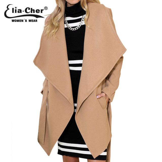 Женщины зимние пальто  Eliacher бренд шикарный элегантных женщин шерстяное пальто ...
