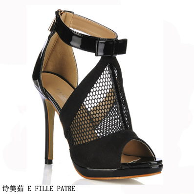 Big European And American Women Sandals And Black Tennis Young Fish Mouth Shoes High-Heeled Shoes 0640ABT-A1 Fun Club(China (Mainland))