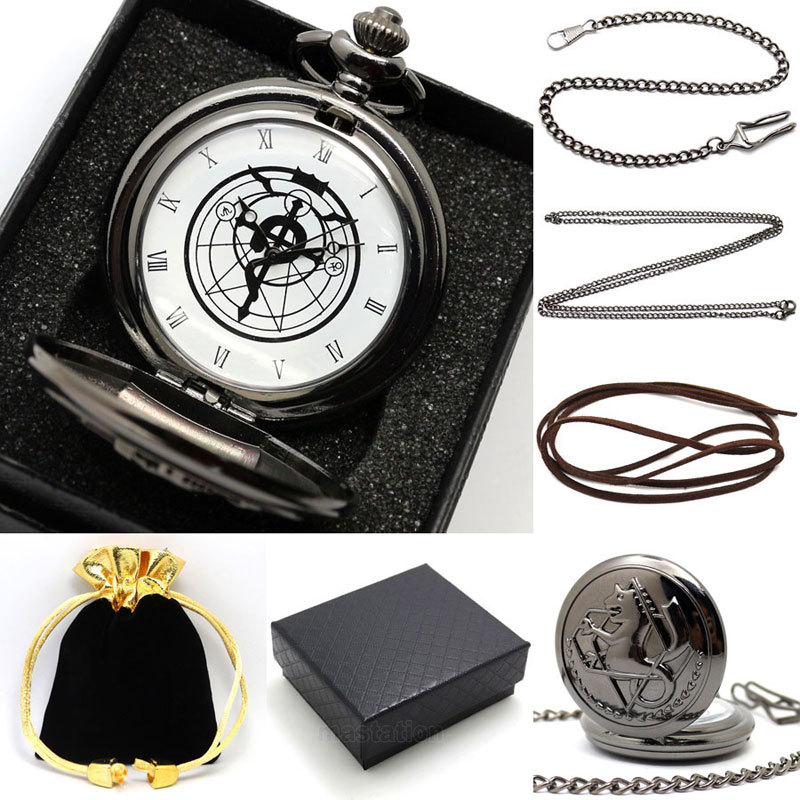 New Gift Boxed Fullmetal Alchemist Edward Elric's Pocket Watch with chain Cosplay Anime boy leather strap wish gift bag gift box(China (Mainland))