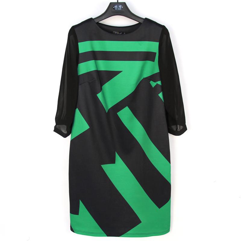 2016 Summer Women Dress Straight 3/4 Sleeve V-neck Casual Dress Plus Size 5XL Women Clothing Unique Triangular Pocket 3687-8Одежда и ак�е��уары<br><br><br>Aliexpress