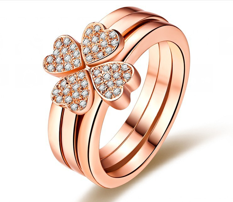 Heart Rings Combine Set Four Leaf Clover Solid 18K Rose Gold Ring Synthetic Diamond Ring for Fiancee Real 18K Rose Gold Ring(China (Mainland))