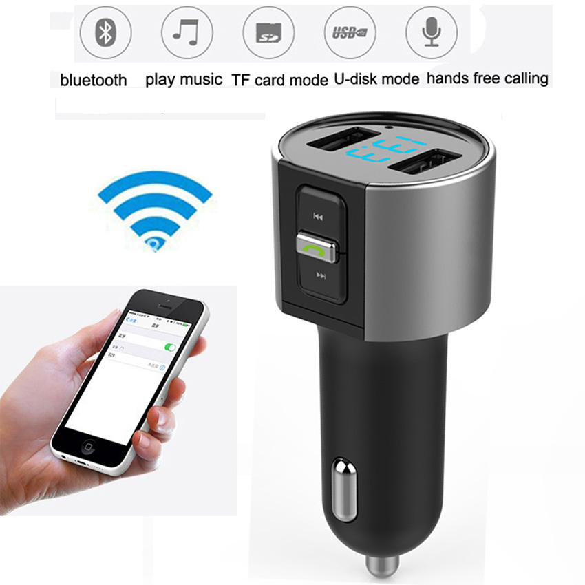Bluetooth FM Transmitter Wireless In-Car MP3 Player Bluetooth Transmitter Radio FM Transmitter with Dual USB port for SmartPhone(China (Mainland))