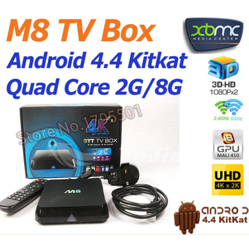 Quad Core Android TV Box 2GB/8GB HD 4K H.265 2.4G/5G Dual WiFi Smart Home Network Media Player Sup Free Chinese Live TV Channels(China (Mainland))