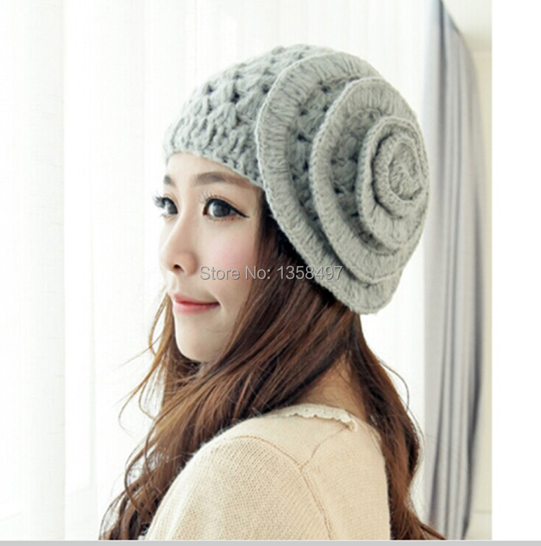 Classic Winter Hats Girls Warm Wool Twist Knitted Hat Fashion Beanies For Woman ladies Flowers mesh