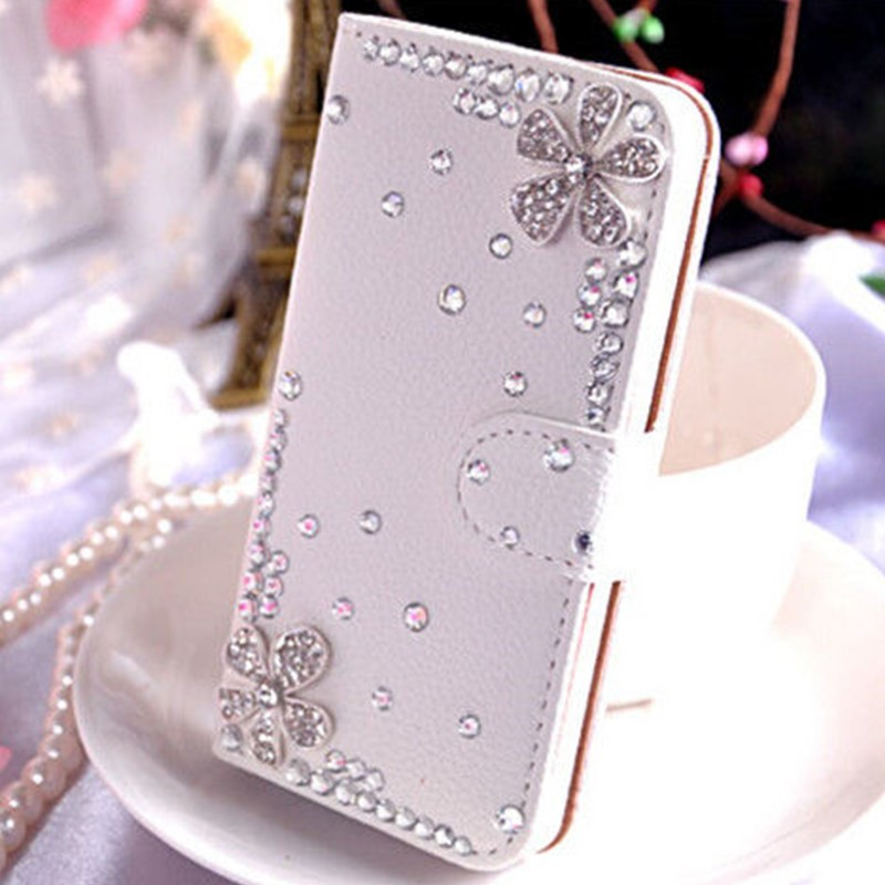 Handmade Cell Phone Leather phone Case with Rhinestone Diamond Flower For LG G Pro E980 F240/G Pro 2 F350/G Pro Lite D686 D680(China (Mainland))