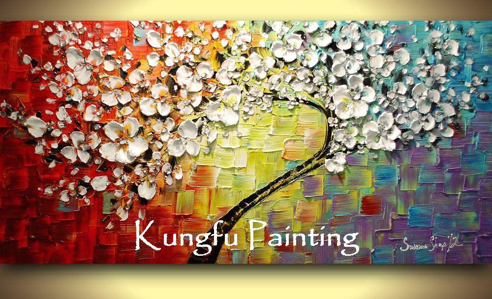 tex1042 100 peint la main de bonne qualit grande peinture contemporaine de cerise fleur. Black Bedroom Furniture Sets. Home Design Ideas
