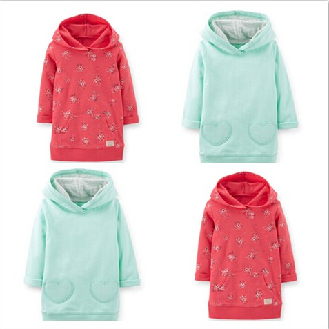 Original Carters Baby Girls Long Sleeve French Terry Hooded Tunic Sweater, Spring Autumn Kids Sweatshirts Outwear, freeshipping<br><br>Aliexpress