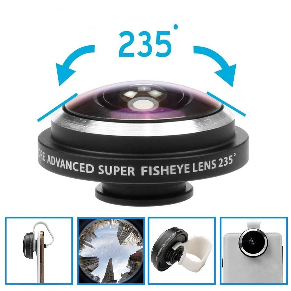 APEXEL Universal 235 Arc-shaped Clip Super Fisheye Fish Eye Camera Lens for iPhone/iPod/Samsung S6 Note 5 4 Cellphone APL-FE235