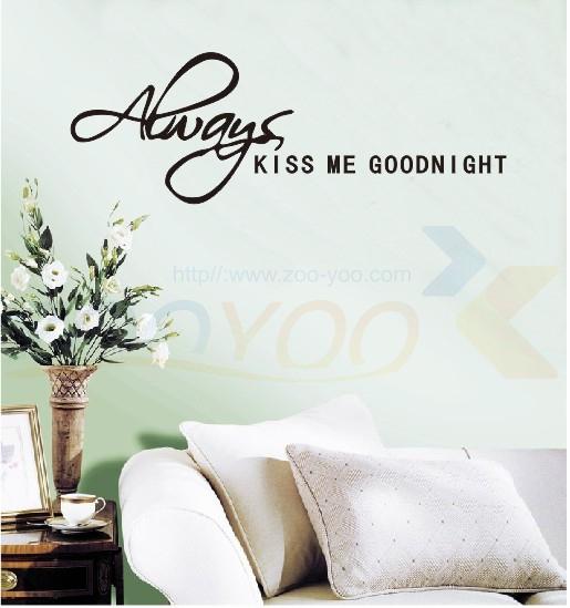 Всегда поцелуй меня goodnight любить котировки наклейки на стены съемный спальня наклейки виниловые обои для дома декор окна наклейки
