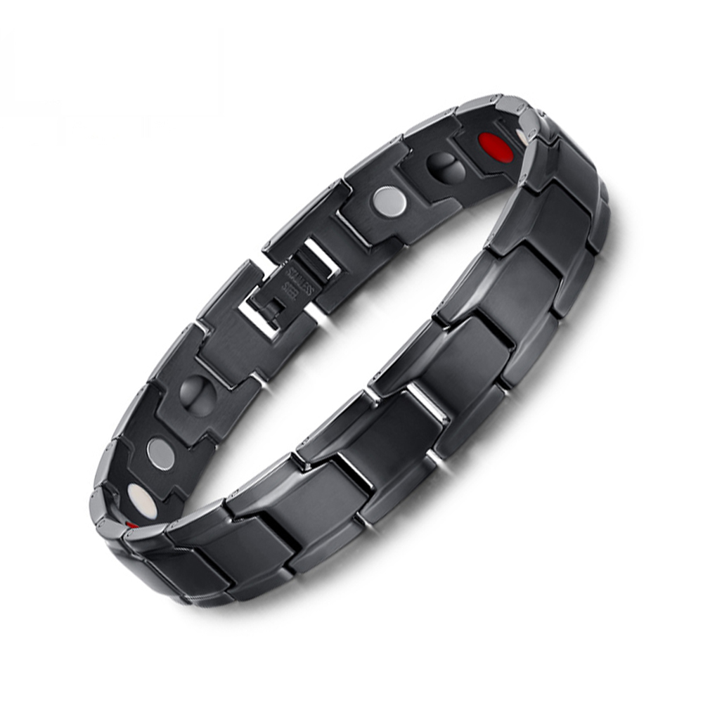 Hot Sale New 2015 Fashion Jewelry Black Stainless Steel Magnet Stone Germanium White Ion FIR Stone 4 in 1 Energy Bracelet(China (Mainland))