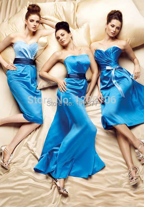 2014 New Arrivals Sheath Vestidos De Festa Corset Royal Blue Backless Floor Length Long Bridesmaid Dresses - Personalized custom wedding dress store