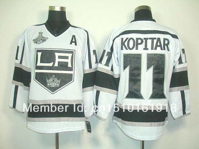 Men's Los Angeles Kings Hockey Jerseys #11 Anze Kopitar Road White Authentic LA Kings Jersey A 2012 Stanley Cup Champions Patch