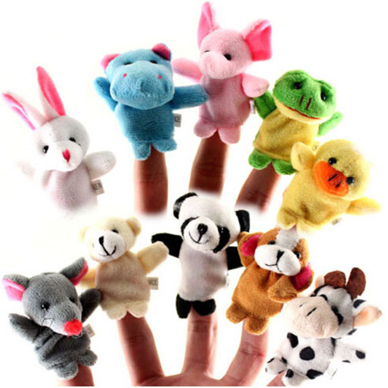 10pcs/lot Animal Finger Puppet Cartoon Plush Toys Child Baby Favor Dolls Baby Kids Children Gift Toy Free Shipping(China (Mainland))