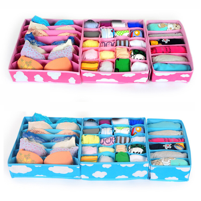 3pcs/set Foldable Underwear Bra Storage Boxes Cardboard Bedroom Organizer Case Printing No Cover White Clouds Clothing Socks Tie(China (Mainland))