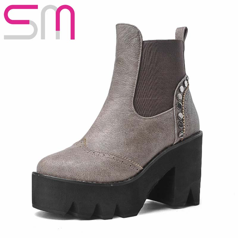 Size 34-43 Fashion Rivets Cutouts Elastic Band Ankle Boots Square Big Heels Thick Platform Shoes Women Boots School Short Boots<br><br>Aliexpress