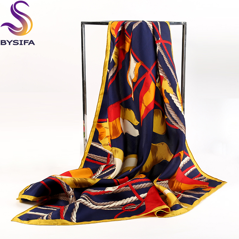 Brand Black Gold Square Scarves Ladies 90*90cm Autumn Winter Pure Silk Twill Silk Scarf Shawl Rope Pattern Heavy Silk Scarves(China (Mainland))