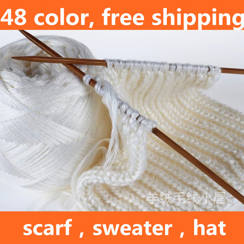 48 color 100% Pure Cashmere Yarns Wholesale 400g Hot Sale for Hand Knit woolen yarn ball Crochet Thread FREE SHIPPING yarns(China (Mainland))