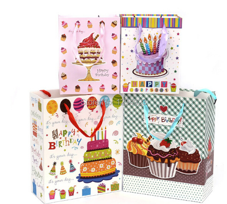 Gift bags for birthday, colorful paper bags with handles wholesale Free Shipping Size 26*12*32cm(China (Mainland))