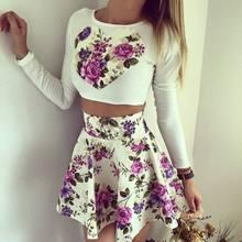 2015 новинка лето сексуальная cintura baixa saia terno привет-ло ши falda костюм для печать свободного покроя женской одежды
