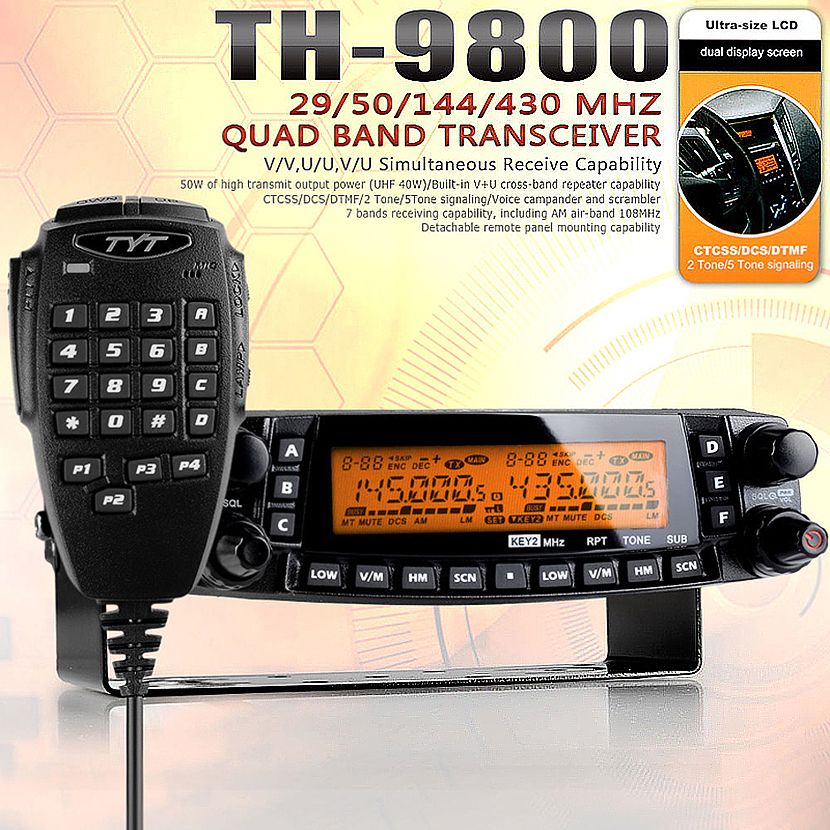 TYT TH-9800 Pro 50W 809CH Quad Band Dual Display Repeater Scrambler VHF UHF Transceiver Car Truck Ham Radio(China (Mainland))