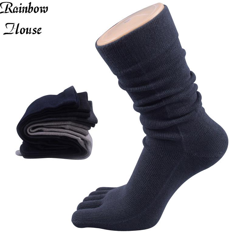 New 2017 Socks Long Mens Cotton Five Finger Casual Male Toe Socks Breathable Fashion In Tube Man Toe Socks 4pcs=2pairs/lot(China (Mainland))