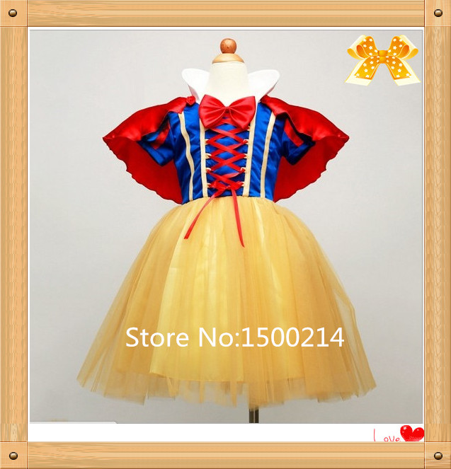 2016 New Fashion Brand Casual Christmas New Year Formal Clothing Fantasy Girl Princess Colorful Bowknot Lace Snow White Dress(China (Mainland))